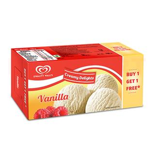 Kwality Walls Vanilla Buy 1 Get 1 Free Family Pack (700 ml)