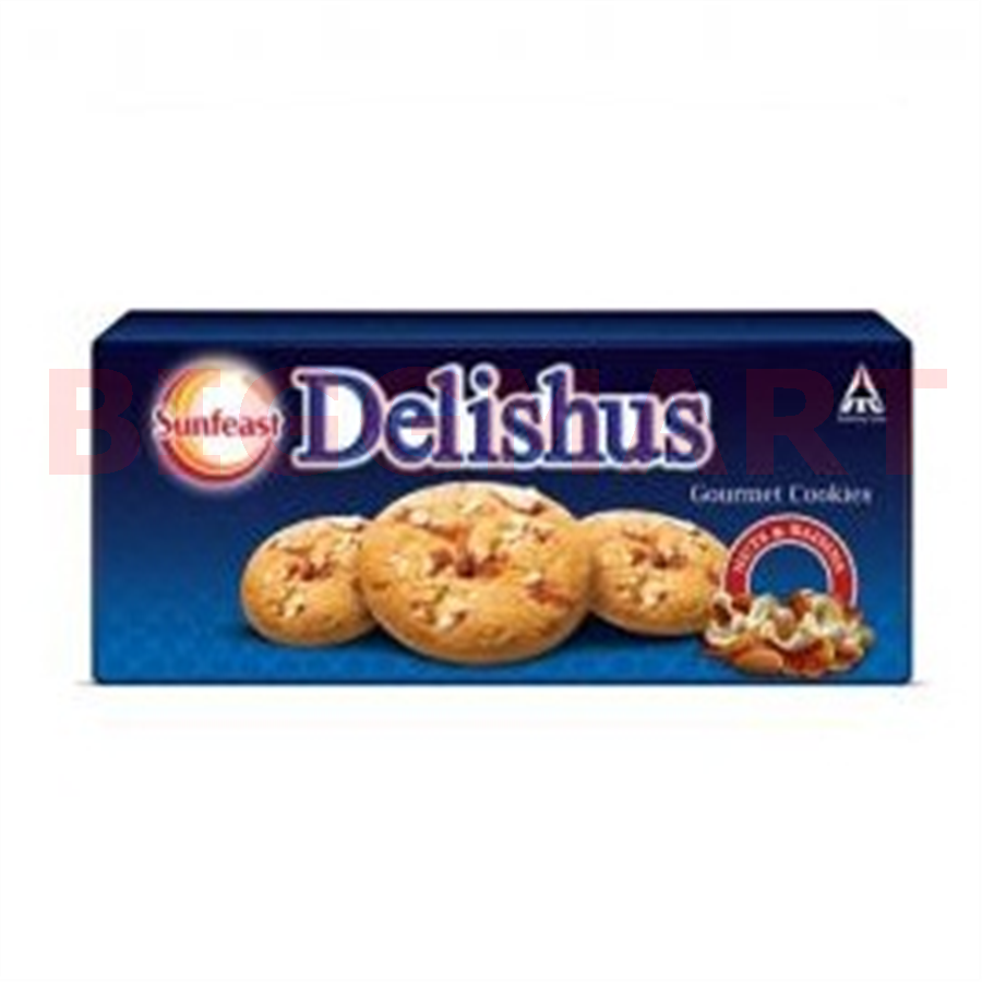Sunfeast Delishus Gourment Cookies Nuts & Raisins (75 gm)